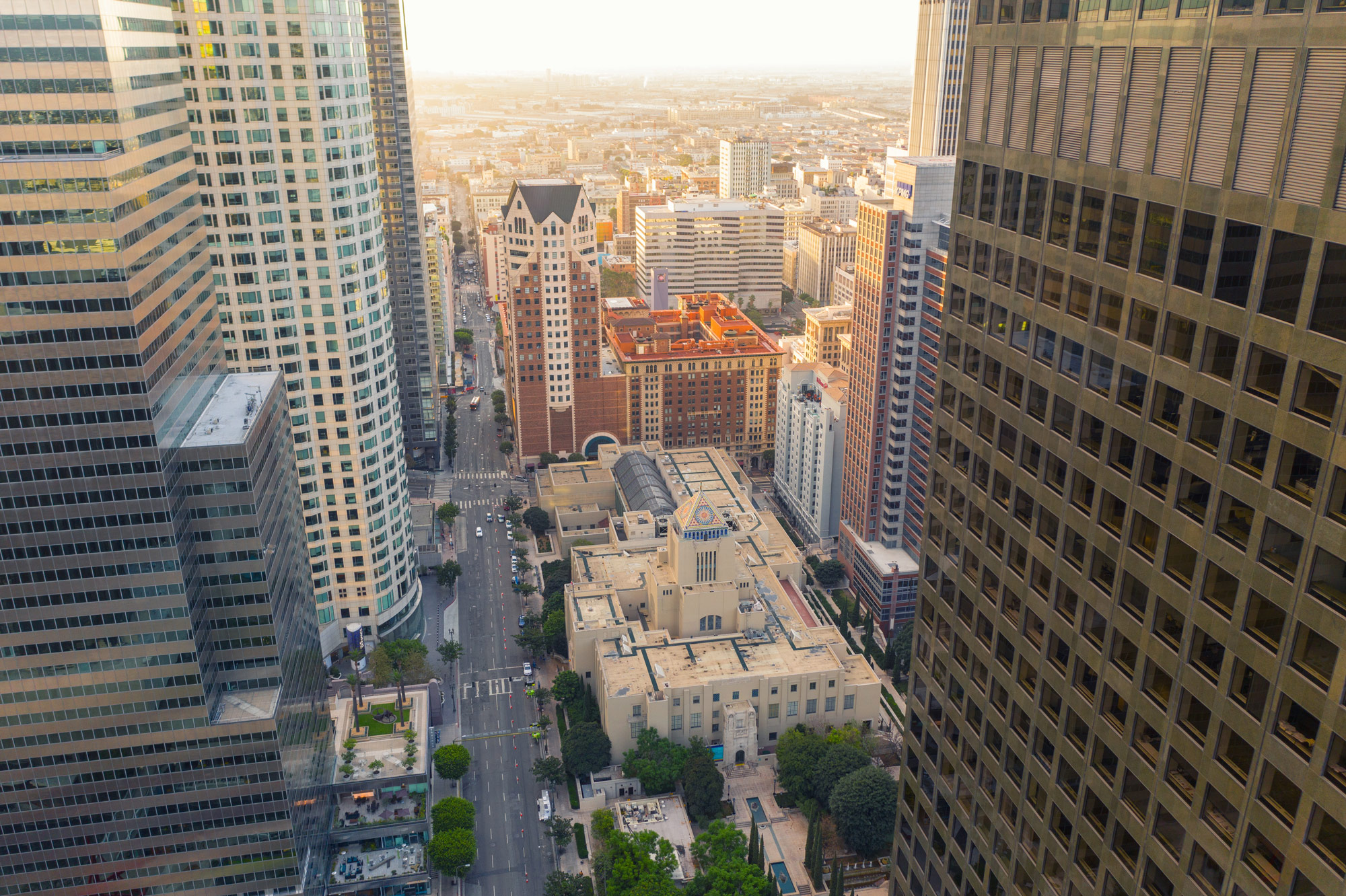 Aerial View on LA Public Library, Downtown Los Angeles
